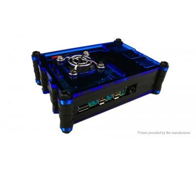 Многослойный сине-чёрный корпус для Raspberry Pi 4 с поддержкой кулера
