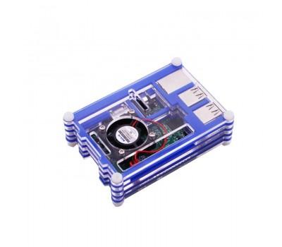 Многослойный голубой корпус для Raspberry Pi 4 с поддержкой кулера