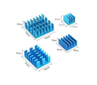 Набор 4 шт. голубых алюминиевых радиаторов для Raspberry Pi 4