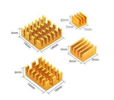 Набор 4 шт. жёлтых алюминиевых радиаторов для Raspberry Pi 4