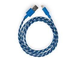 Кабель USB 2.0 - USB Type-C в нейлоновой оплётке 1м бело-голубой Vinga (VCPDCTCNB31B)