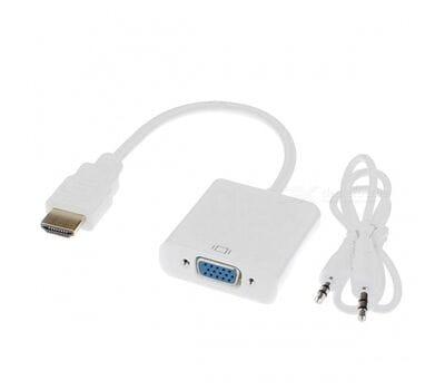 Конвертер HDMI to VGA с аудио 3.5 mm и питанием белый