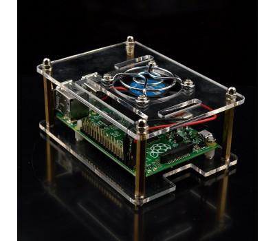 Прозрачный акриловый корпус с кулером в комплекте для Raspberry Pi