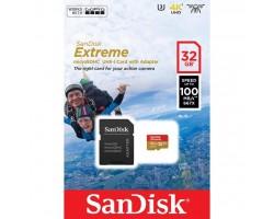 Карта памяти SANDISK 32GB microSD с адаптером Class 10 V30 A1 UHS-I U3 EXTREME (SDSQXAF-032G-GN6AA)