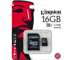 Карта памяти с адаптером Kingston 16GB microSDHC Class 10 UHS-I (SDC10G2/16GB)