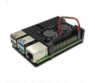 Корпус из алюминия с двойным кулером для Raspberry Pi 4 чёрный