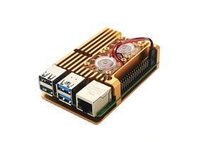 Корпус из алюминия с двойным кулером для Raspberry Pi 4 золотой