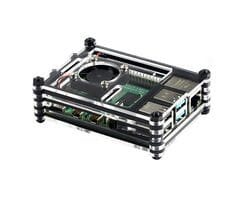 Многослойный чёрный корпус для Raspberry Pi 4 с поддержкой кулера