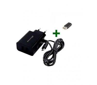 Блок питания Grand-X CH-65B 5V 3.1 A + переходник USB Type-C