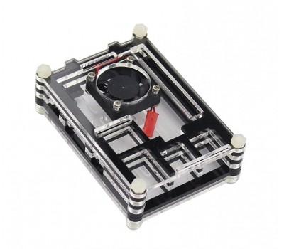 Двухцветный корпус (чёрный + прозрачный) для Raspberry Pi 3 B (поддерживает кулер)