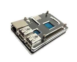 Двухцветный корпус (чёрный + прозрачный) с металлическими болтами для Raspberry Pi 3 B